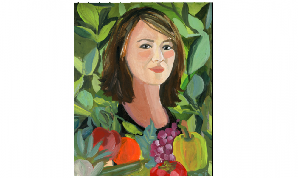 Oil painting portrait of Leah Lizarondo featured with green vines and fruit
