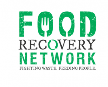 The words Food Recovery Network with a spoon, fork, and knive stylized in the word Food