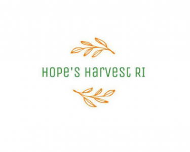 The words Hope's Harvest RI in green are surrounded by illustrated gold leaves