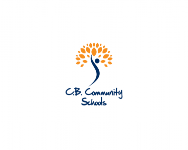 C.B. Community Schools logo which pictures an abstract blue figure and an orange burst design