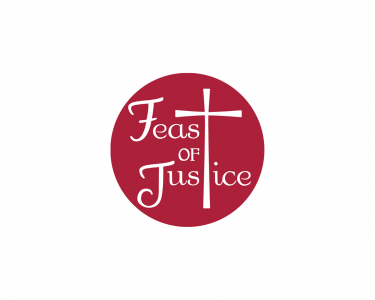 Organization logo features a red circle with the words Feast of Justice in the center