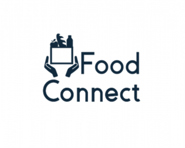 The words Food Connect in black on a white background. A pair of hands holding a box of food is on the upper left.
